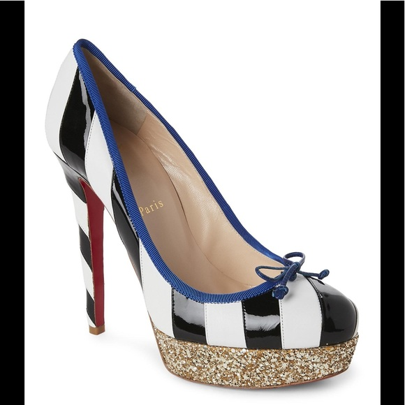 on sale 740fd e3045 Christian Louboutin Foraine Striped Platform Pumps